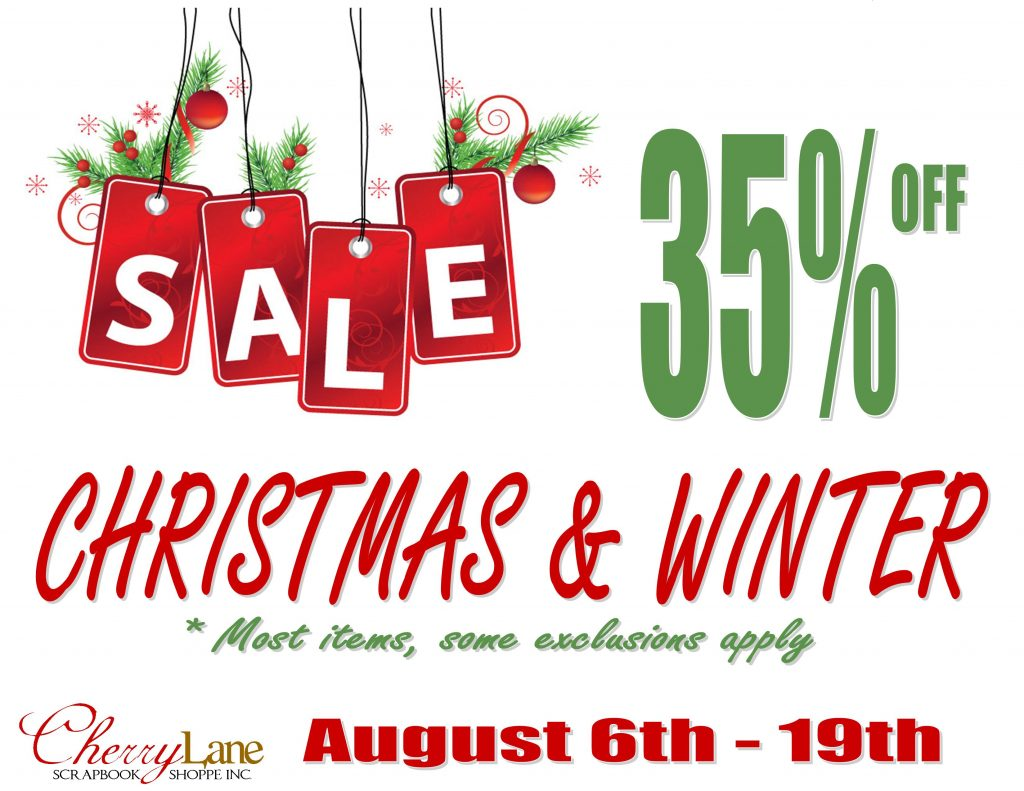 Christmas & Winter Sale Aug 6-19, 2016