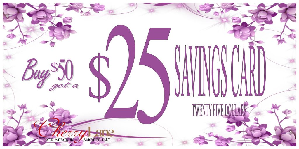$25 Savings Card sign
