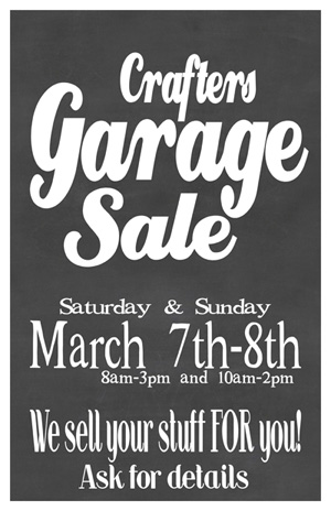 Garage Sale poster 11x17 March 2020 SM