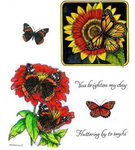 no-094-monarch-on-sunflower-zinnias-with-butterflies