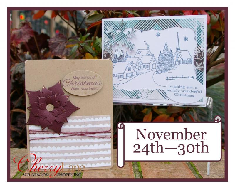 Spellbinders Poinsettia, Large Labels. Penny Black Village Christmas Stamp