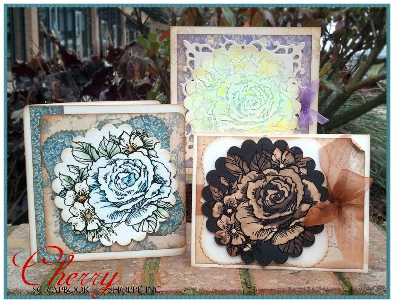 Rose Cluster Stamp & Card Trio
