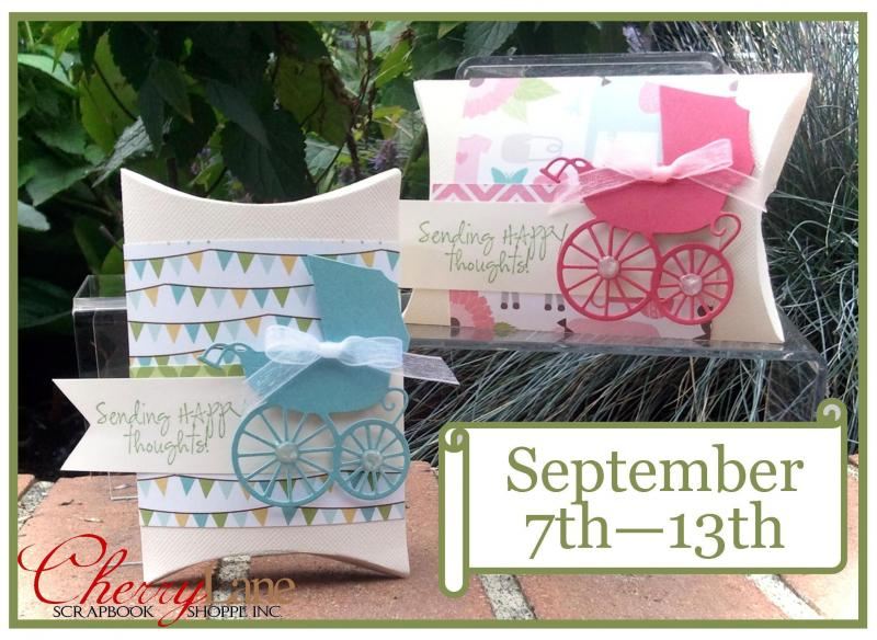 Sizzix Pillow Box die, Echo Park Bundle of Joy paper, Memory Box Baby Carriage